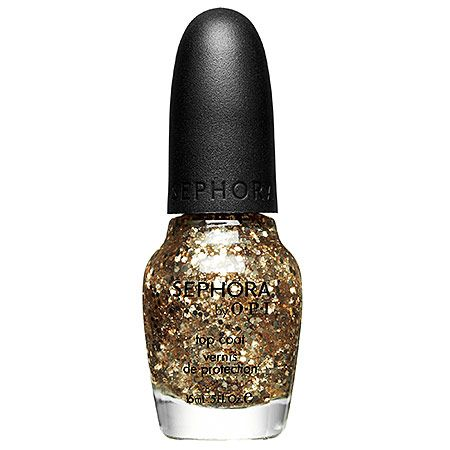 """4/7: """"I've been waiting forever for a gold, glittery nail polish like SEPHORA by OPI Only Gold For Me to come out. This top coat is amazing. It goes on smoothly and adds an edgy sheen to my everyday polish."""" -Chelsea G., Junior Designer"""