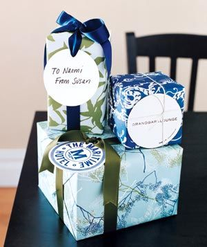 Coasters as gift tags.
