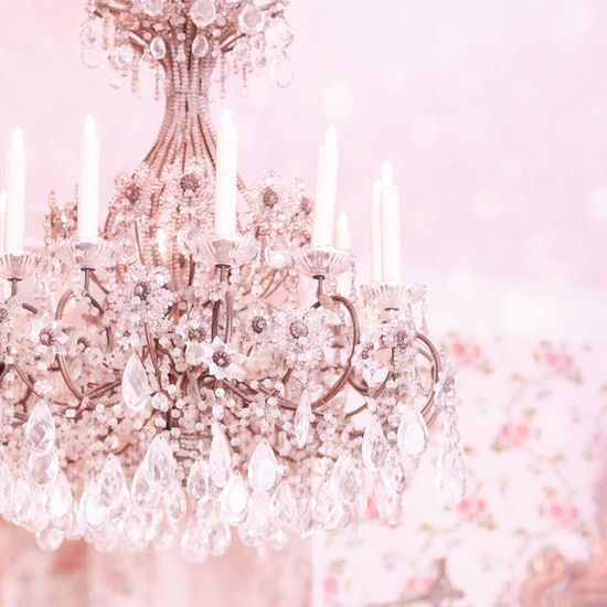 gorgeous chandelier in pink!