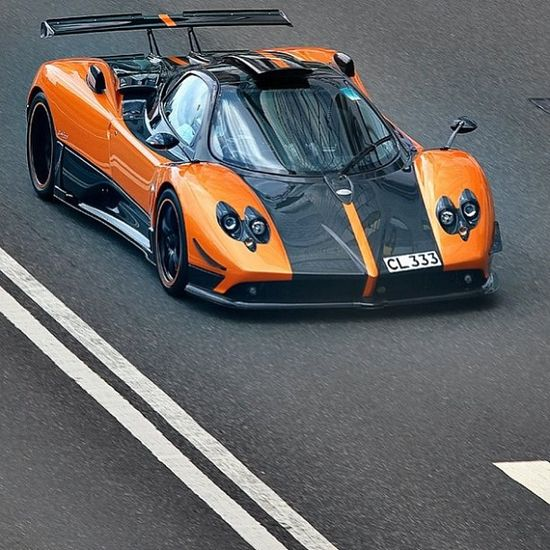 Orange and black Pagani Zonda on the track!