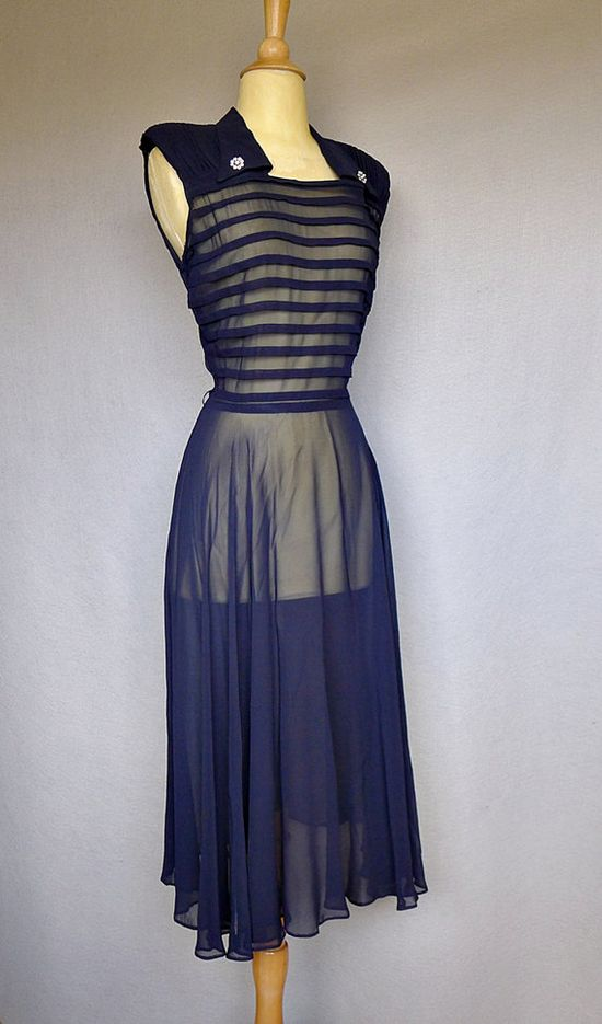 1940s dress / navy blue sheer 40s dress by bitterrootvintage, $125.00