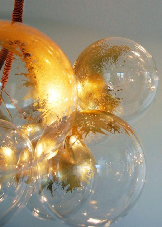 Gold bubble chandelier