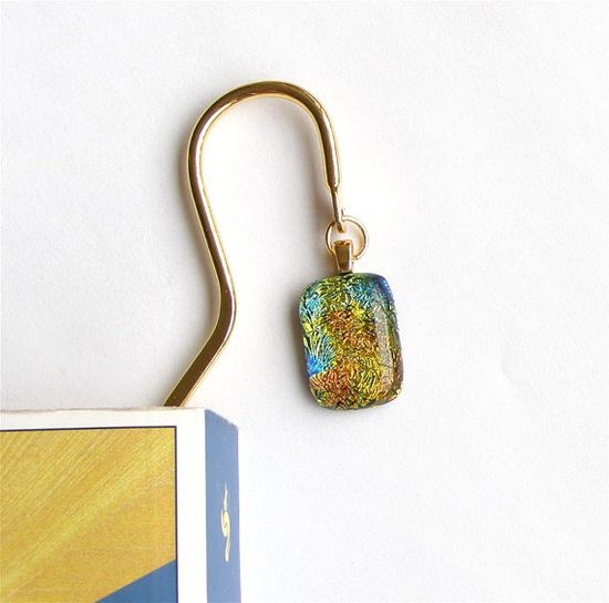 Book Mark  Dichroic Fused Glass on Gold by GreenhouseGlassworks, $17.00