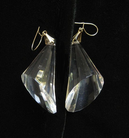 Large Acrylic Cone Earrings Clear Plastic by Elsewind on Etsy, $25.00