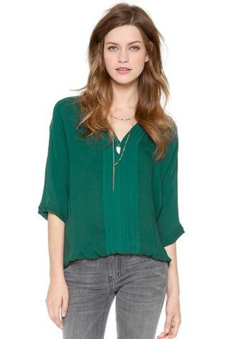cute easy, everyday blouse {in emerald!}