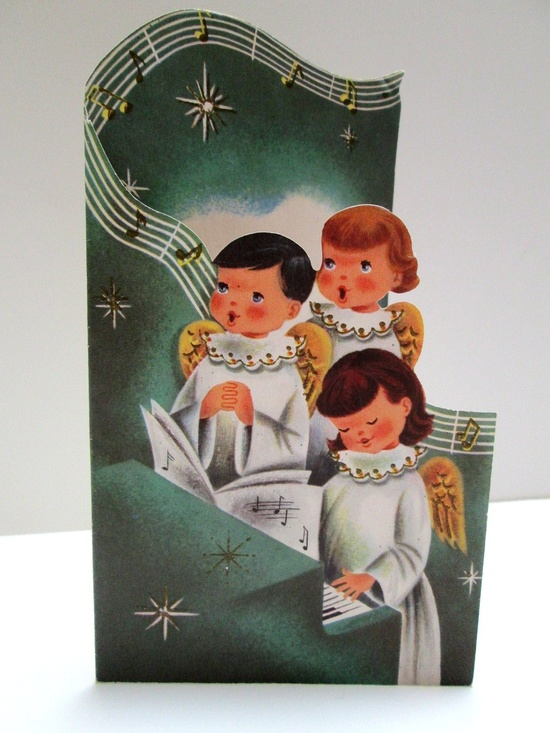 Such a lovely shaped vintage Christmas card. #angels #vintage #Christmas #cards