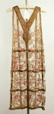Callot Soeurs Evening Dress (back) ca. 1924 cotton, metallic thread, glass