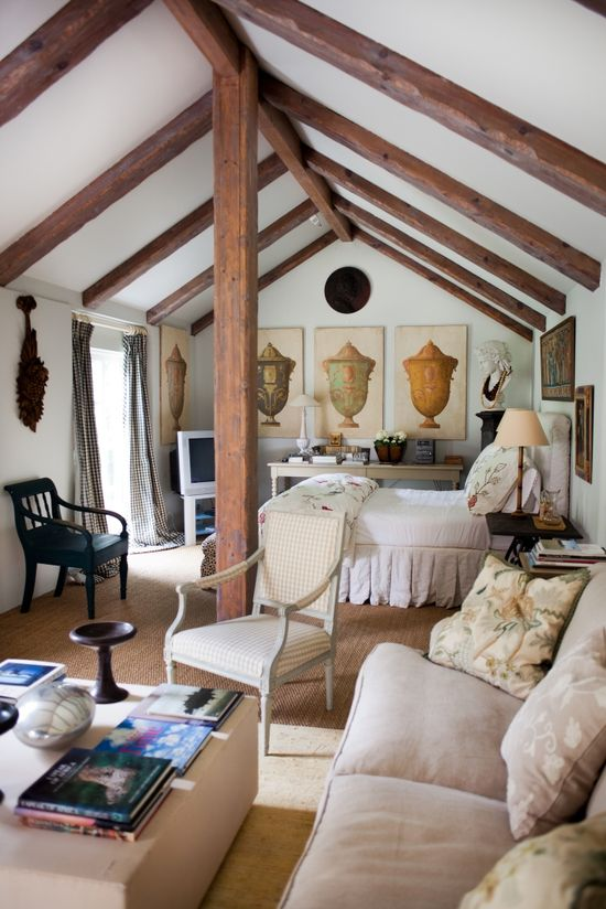 This is so great - I adore studio type spaces that are all inclusive - could be the top floor of a converted barn or over a garage - one big room that serves as living and bedroom space. Love it.