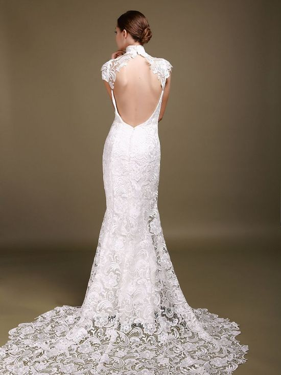 Portrait back, lovely lace, & under $500. This is one awesome #wedding dress!
