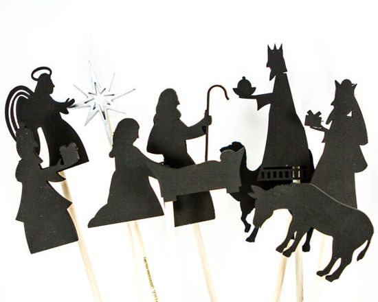 Christmas Nativity Shadow Puppets Wooden Children's Toys Imaginative Play Christian Children's Gift