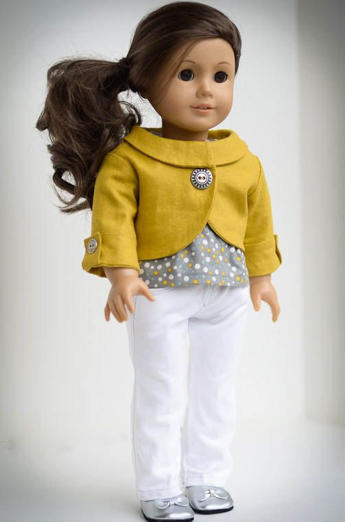Outfit for American Girl Doll - LJ Penny Lane Jacket Pattern and LJ Jeans Pattern used - made by AnnasGirls, $42.00 find sewing patterns at www.libertyjanepa...
