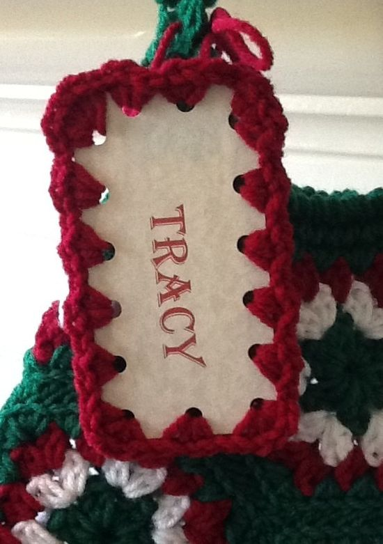 Personalized Christmas Stocking Crochet Name Tag - Custom Gift Tags - Christmas Decoration