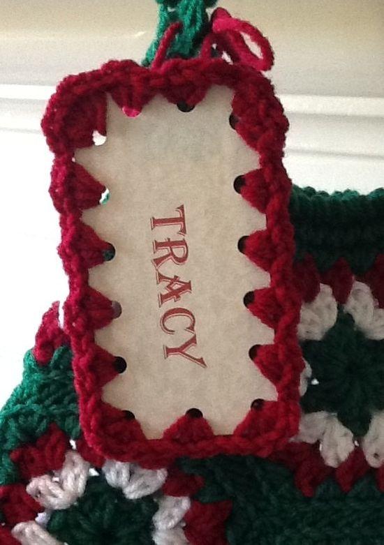 Personalized Christmas Stocking Crochet Name Tag - Custom Gift Tags - Christmas Decoration