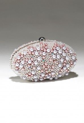 "Sondra Roberts multi pearl beaded rhinestone clutch features:• Metal frame• 24"" metal chain strap• Inner pocket• satin lined"