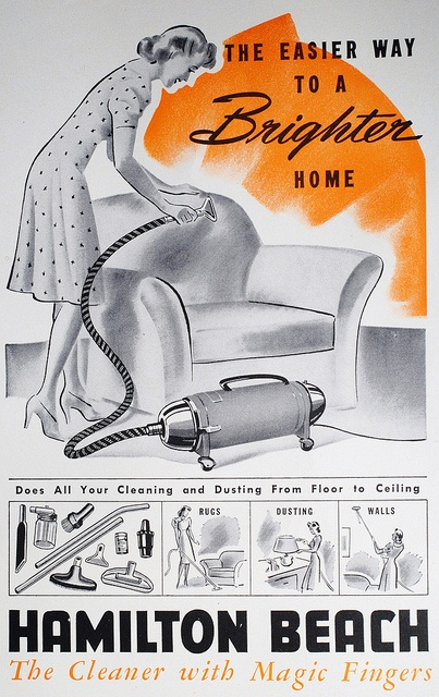 Hamilton Beach - the cleaner with magic fingers! #vintage #1940s #ad #homemaker #housewife #cleaning