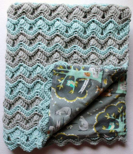 Les Amis chevron crochet baby blanket in grey and blue - @Hillary Platt Bandley Reed ... not necessarily the color, but I love the idea of a backing! makes it more sturdy :)