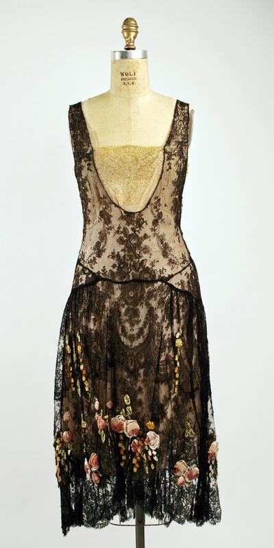 Vintage 1920s French lace floral gown.