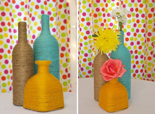 Yarn-wrapped bottle centerpieces