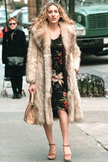 That vintage fur coat again. Carrie Bradshaw