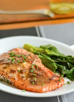 Maple and Mustard Baked Salmon! Sweet and savory flavors combine to make this dish delicious
