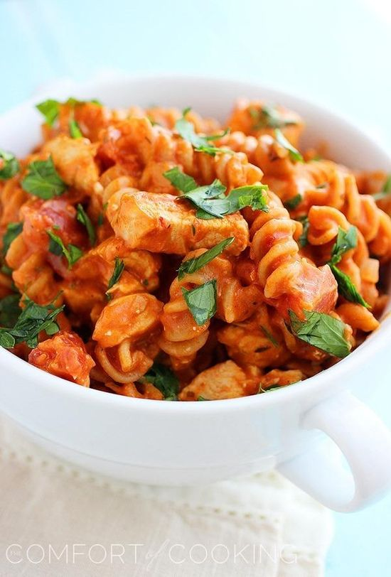 The Comfort of Cooking » Creamy Italian Chicken & Pasta Skillet