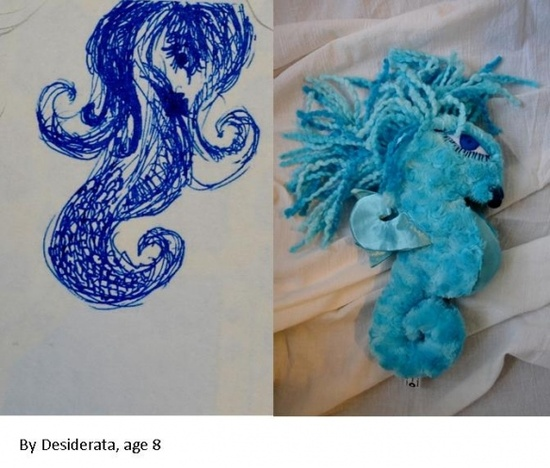 Children's drawings into softies