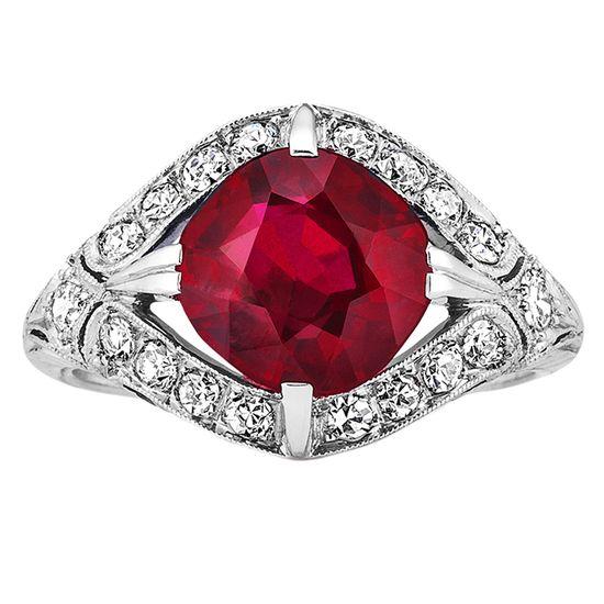 Art Deco Burma Ruby And Diamond Ring