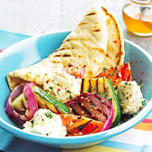 Meatless pita, cheese, and veggie grill Recipe from Better Homes and Gardens.    Instead of serving the usual grilled sandwiches at your next outdoor barbecue, try this feta cheese and vegetable grilled pita. Friends and family will love this meatless main dish recipe.