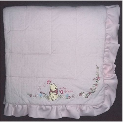 Disney Winnie Pooh Pink White Quilted Baby Girl in The Garden Floral Blanket
