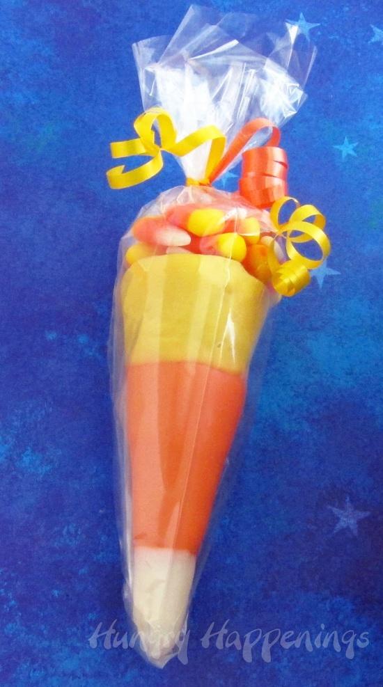 Candy Corn Cones - Dress up plain sugar cones this Halloween.