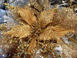 Gold Poinsettias Christmas Decor