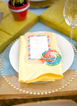 colorful candy place setting. So cute for a candyland themed party