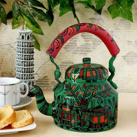 Kaushalam Tea Kettle Green & Pink - FabFurnish.com-Kitchen-Decor