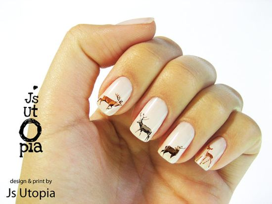 Deer Water Transfer Nail Sticker by JsUtopia on Etsy, $5.00