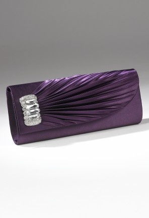 Handbags - Gathered Satin Flap Handbag with Stone Brooch from Camille La Vie and Group USA