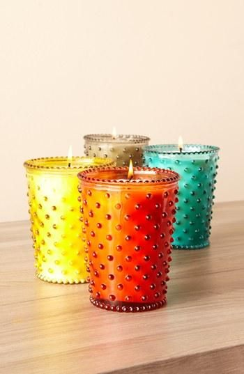 Beautiful candles! Dainty dots & pops of color.