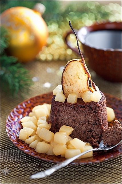 Hearty, satisfying, wonderfully winter-worthy Buckwheat Cake with Chocolate and Pears. #food #Christmas #cake #pears #baking #chocolate #foodphotography