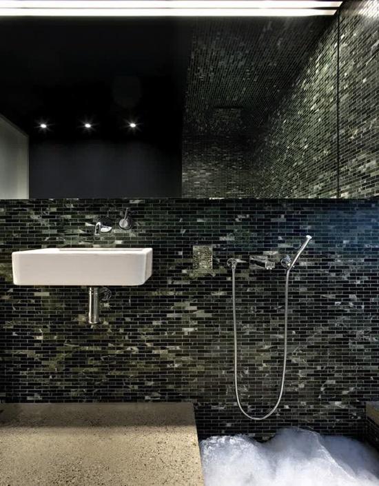 Small tiles bathroom interior design