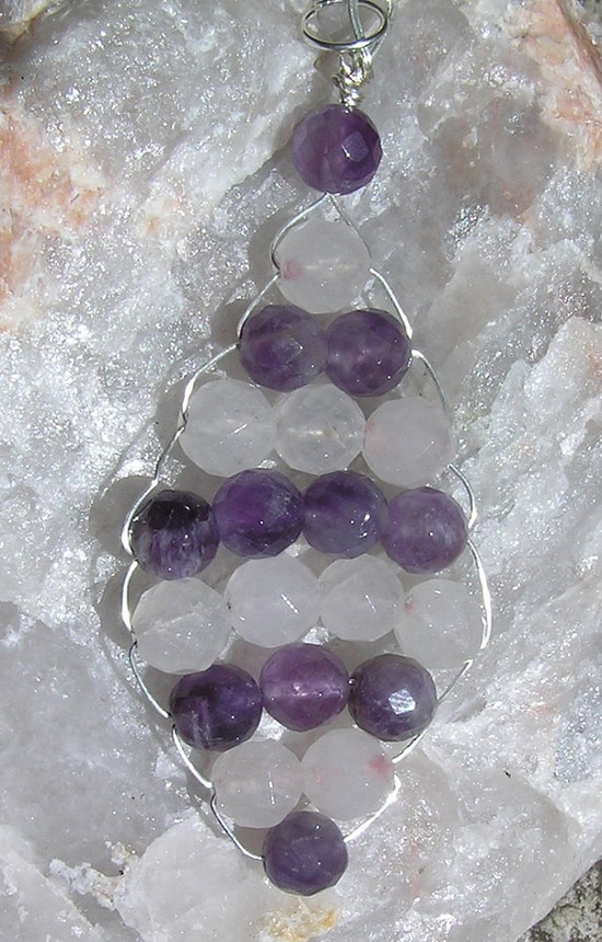 Rose Quartz & Amethyst  Beaded Woven Crystal by SunnyCrystals, £8.25