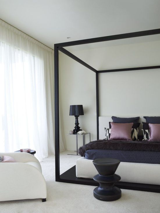 Modern bedroom - navy and white with lavender accents  designer crush: greg natalie