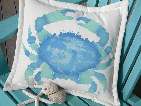 Splendid Pebble Crab, blue & aqua pillow by crabbychris