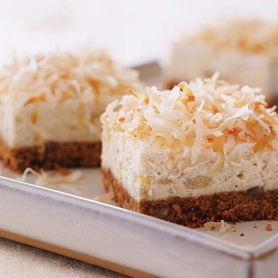 Banana Cheesecake Bars. Recipe: www.bhg.com/...