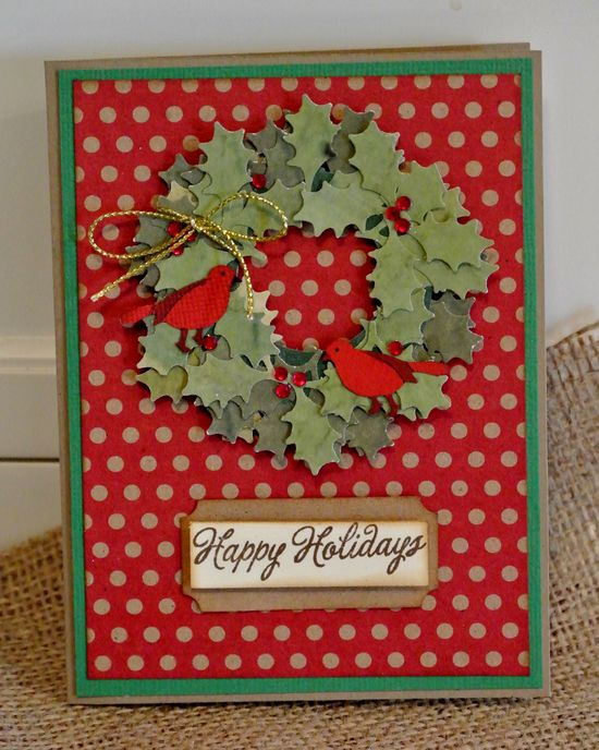 Lovely punch art wreath. #cards #card_making #scrapbooking #Christmas