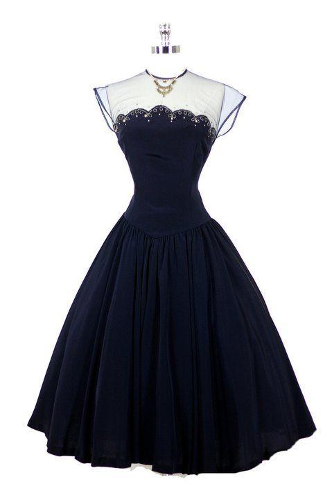 ~1950's Navy Dress~