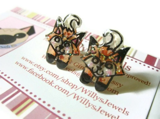Fox Stud Earrings, Orange and Black, Glitter Coating, Plastic,Surgical Steel Hypoallergenic Posts, OOAK, Made to Order  #fox #foxes #earrings #animal #jewelry #studs #plastic #handdrawn #handpainted #OOAK $14.00
