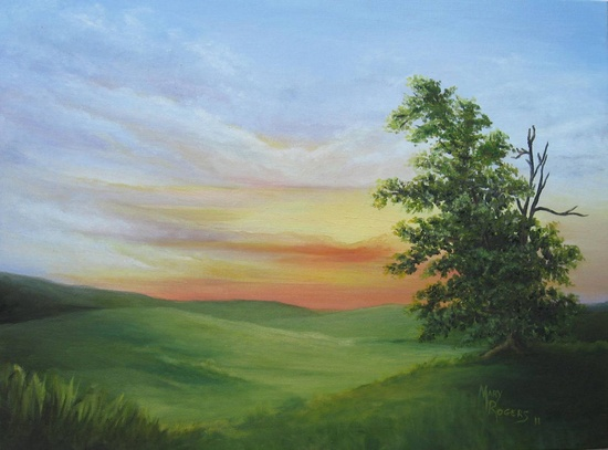 Sunset with a Tree Original Oil Painting by sweetteadesigns, $68.00