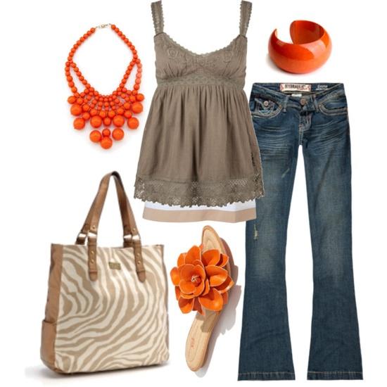 orange jewelry and shirt