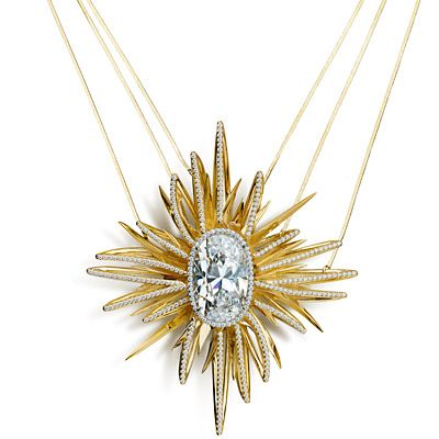 House of Waris for Forevermark Diamond Necklace This one-of-a-kind necklace features a 14.58-carat oval Forevermark Diamond at the center of a Renaissance-style star suspended from a triple chain necklace.
