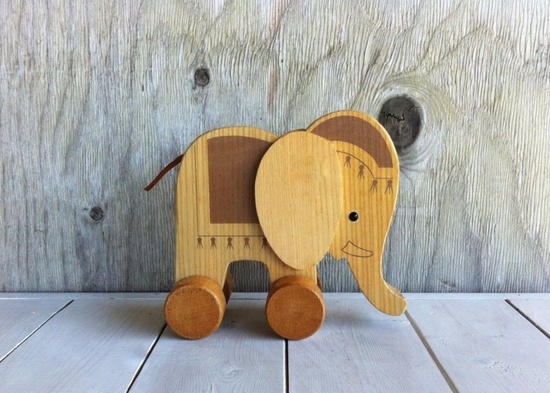 Vintage Wooden Elephant Rolling Toy.