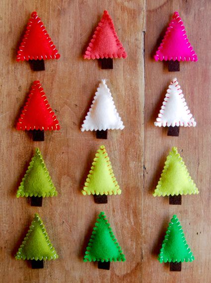 Felt Christmas trees--Pins or Ornaments?